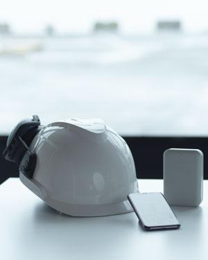 Hjälm mobil grå box